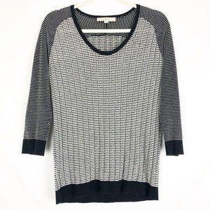 LOFT Black White Lightweight Knit 3/4 Sleeve Top M